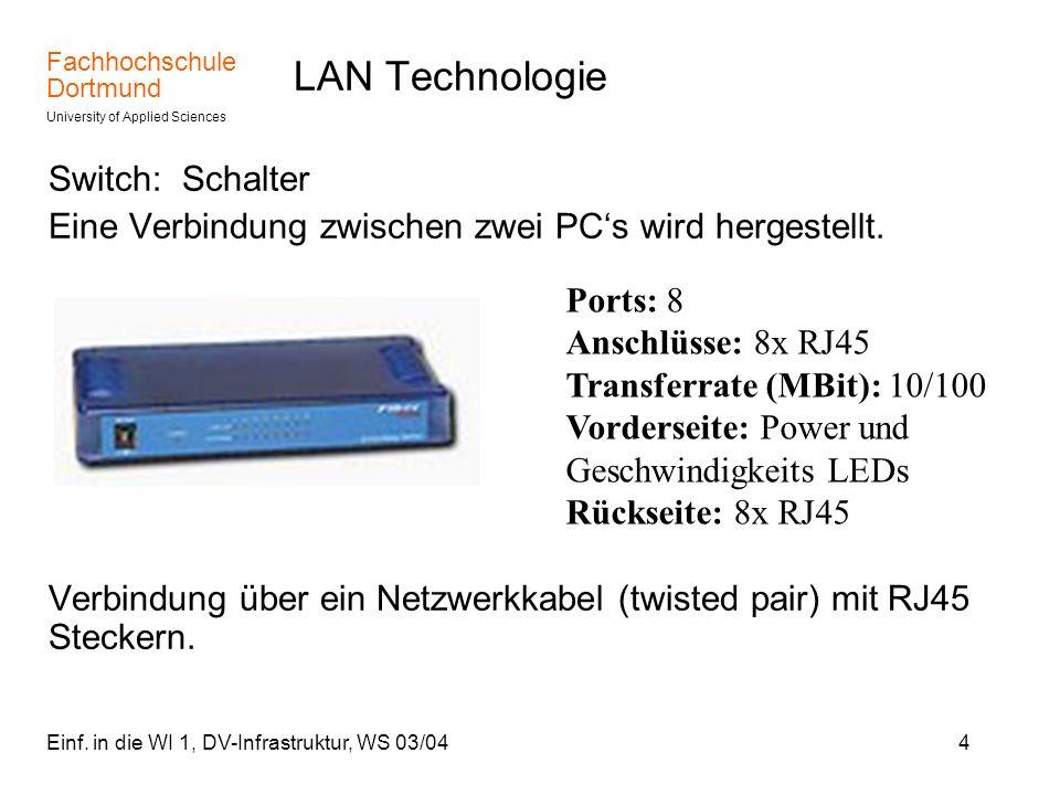 Fachhochschule Dortmund University of Applied Sciences Einf. in die WI 1, DV-Infrastruktur, WS 03/044 LAN Technologie Switch: Schalter Eine Verbindung