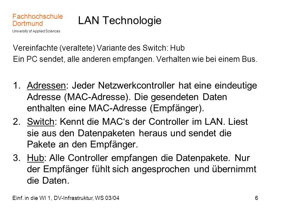 Fachhochschule Dortmund University of Applied Sciences Einf. in die WI 1, DV-Infrastruktur, WS 03/046 LAN Technologie Vereinfachte (veraltete) Variant