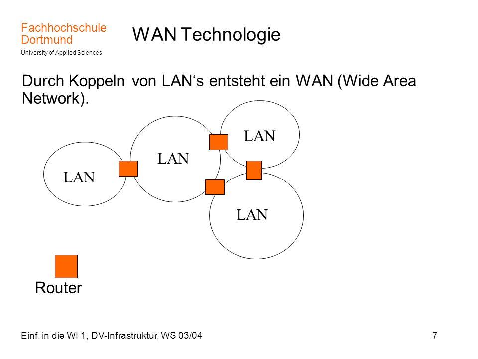 Fachhochschule Dortmund University of Applied Sciences Einf. in die WI 1, DV-Infrastruktur, WS 03/047 WAN Technologie Durch Koppeln von LANs entsteht