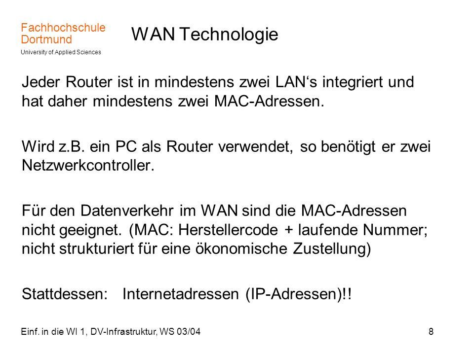 Fachhochschule Dortmund University of Applied Sciences Einf. in die WI 1, DV-Infrastruktur, WS 03/048 WAN Technologie Jeder Router ist in mindestens z