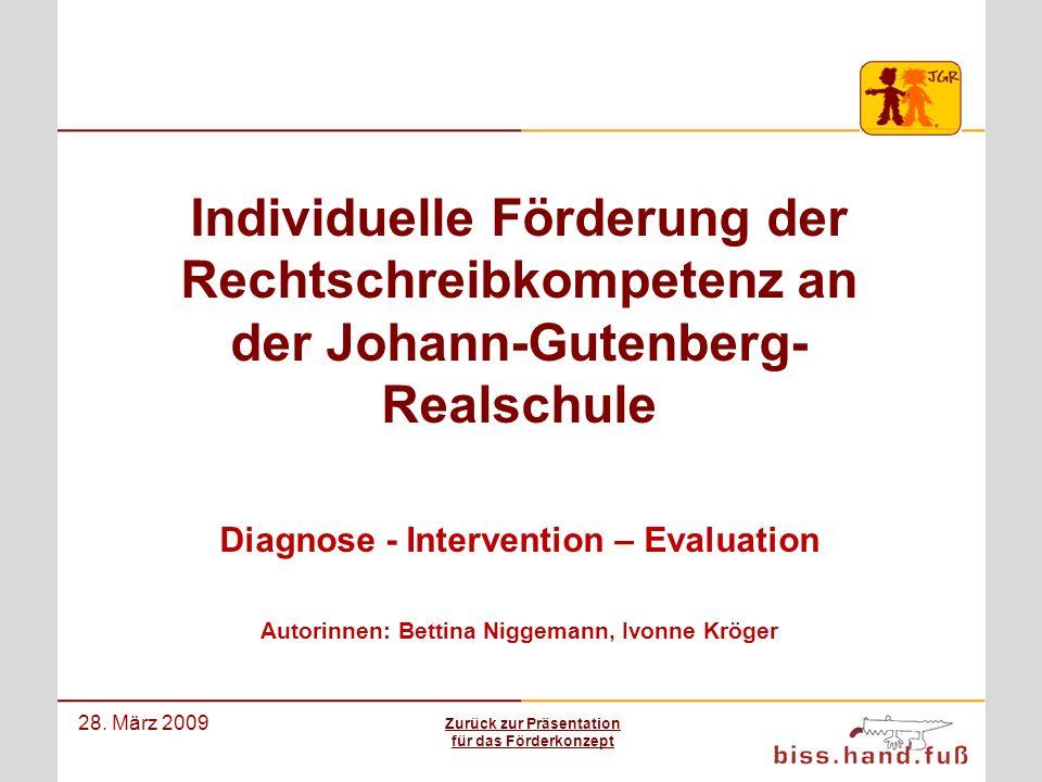 Das Rechtschreibförderkonzept der Johann-Gutenberg-Realschule 28. März 2009 Individuelle Förderung der Rechtschreibkompetenz an der Johann-Gutenberg-
