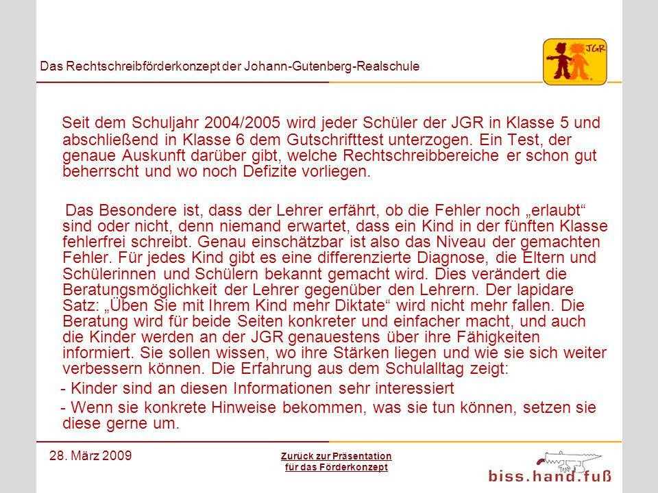 Das Rechtschreibförderkonzept der Johann-Gutenberg-Realschule 28. März 2009 Seit dem Schuljahr 2004/2005 wird jeder Schüler der JGR in Klasse 5 und ab