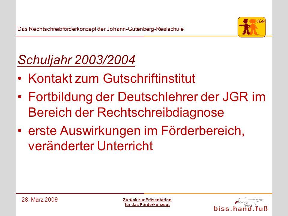 Das Rechtschreibförderkonzept der Johann-Gutenberg-Realschule 28. März 2009 Schuljahr 2003/2004 Kontakt zum Gutschriftinstitut Fortbildung der Deutsch