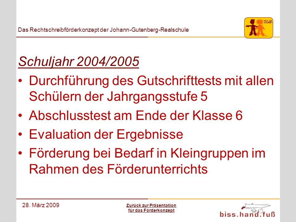 Das Rechtschreibförderkonzept der Johann-Gutenberg-Realschule 28. März 2009 Schuljahr 2004/2005 Durchführung des Gutschrifttests mit allen Schülern de