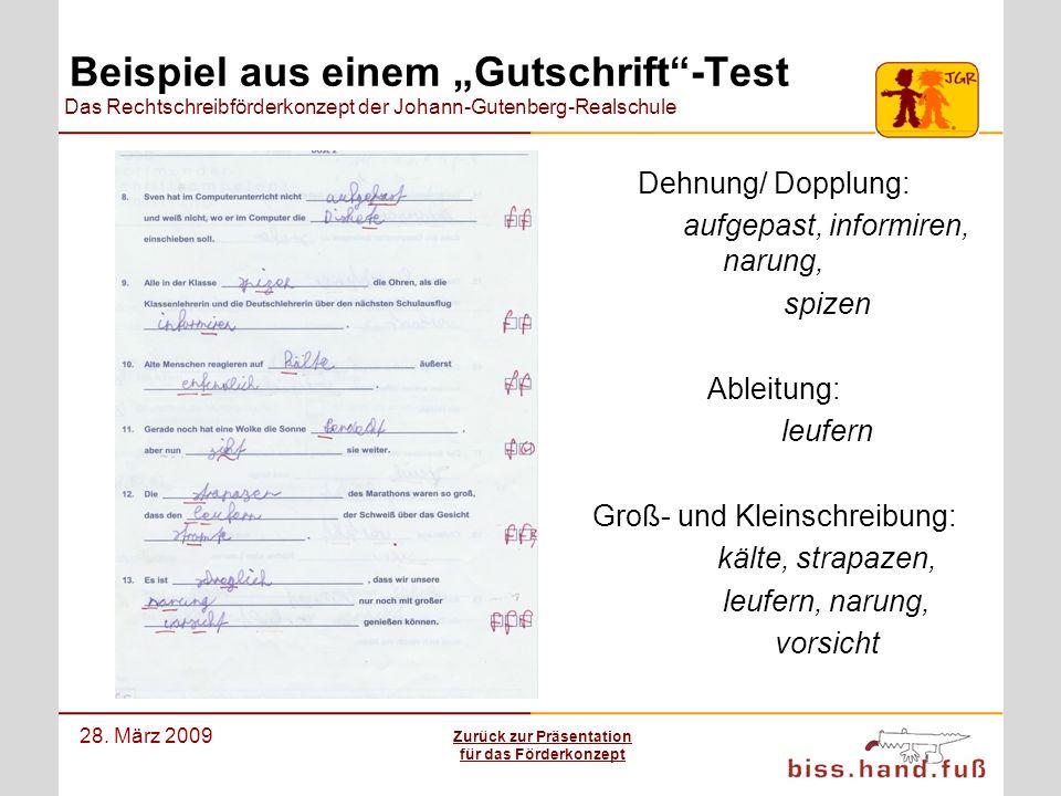 Das Rechtschreibförderkonzept der Johann-Gutenberg-Realschule 28. März 2009 Beispiel aus einem Gutschrift-Test Dehnung/ Dopplung: aufgepast, informire
