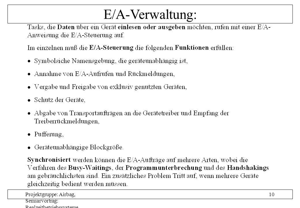 Projektgruppe: Airbag, Semiarvortrag: Realzeitbetriebssysteme, Autor: Nils Grunwald, Oktober 1999 10 E/A-Verwaltung: