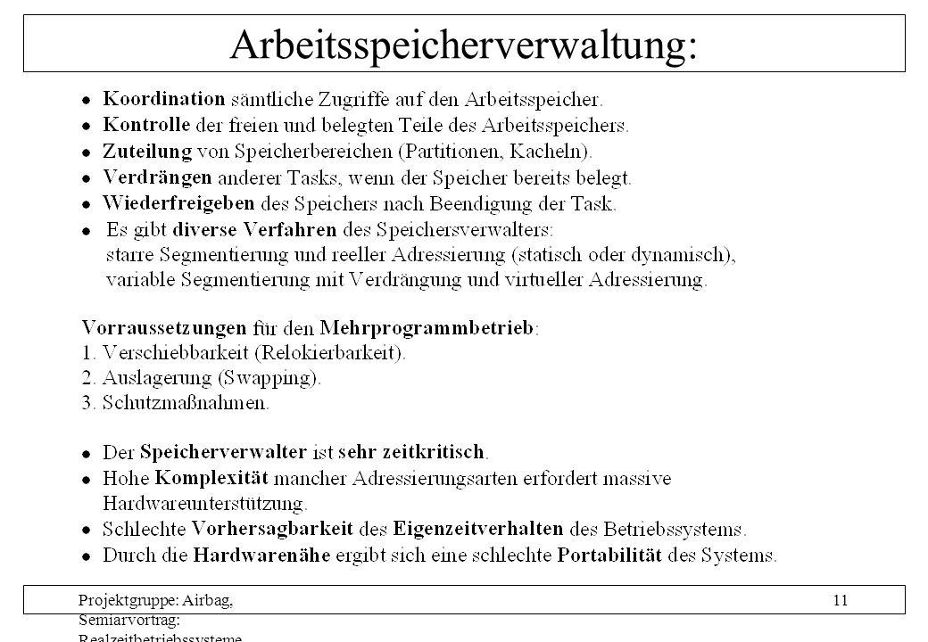 Projektgruppe: Airbag, Semiarvortrag: Realzeitbetriebssysteme, Autor: Nils Grunwald, Oktober 1999 11 Arbeitsspeicherverwaltung:
