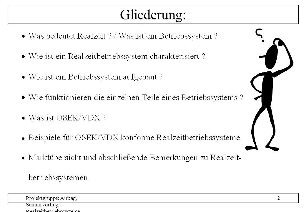 Projektgruppe: Airbag, Semiarvortrag: Realzeitbetriebssysteme, Autor: Nils Grunwald, Oktober 1999 2 Gliederung:
