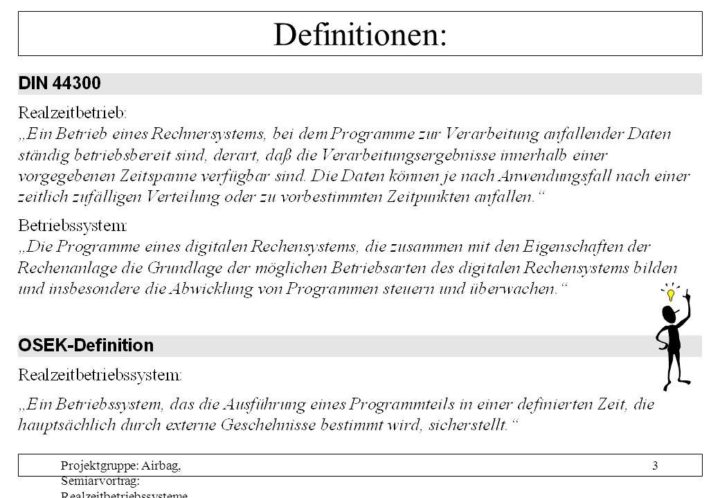 Projektgruppe: Airbag, Semiarvortrag: Realzeitbetriebssysteme, Autor: Nils Grunwald, Oktober 1999 4 Bestandteile eines Betriebssystems: Schichten- modell eines Betriebs- systems: M 5..n M4M4 M3M3 M2M2 M1M1 M0M0 T 5..n T4T4 T3T3 T2T2 P1P1 Anwendungstasks Kommandointerpreter/ Laufzeitsystem Programmallokation/ Dateiverwaltung: Betriebssystemkern: Zielhardware E/A-Steuerung: Taskkonzept/Scheduler Gerätetreiber I/O-Handling Geräteverwaltung Arbeitsspeicherverwaltung (memory manager)