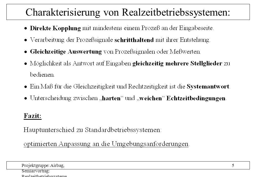 Projektgruppe: Airbag, Semiarvortrag: Realzeitbetriebssysteme, Autor: Nils Grunwald, Oktober 1999 5 Charakterisierung von Realzeitbetriebssystemen: