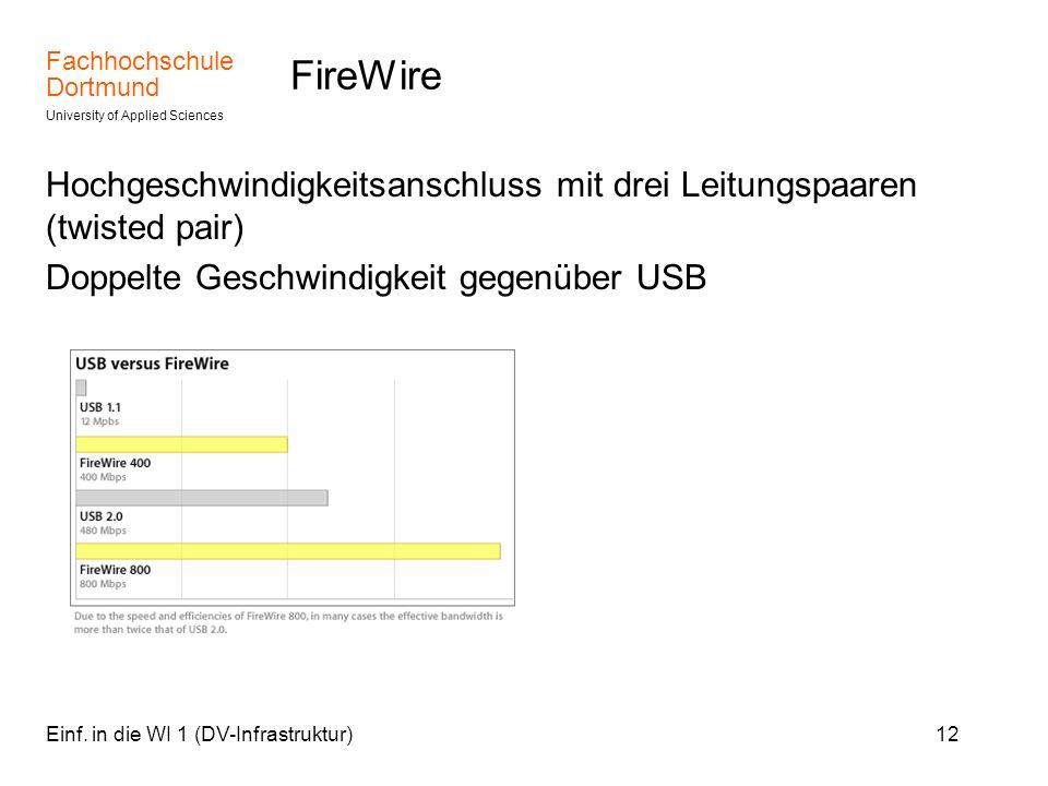 Fachhochschule Dortmund University of Applied Sciences Einf. in die WI 1 (DV-Infrastruktur)12 FireWire Hochgeschwindigkeitsanschluss mit drei Leitungs