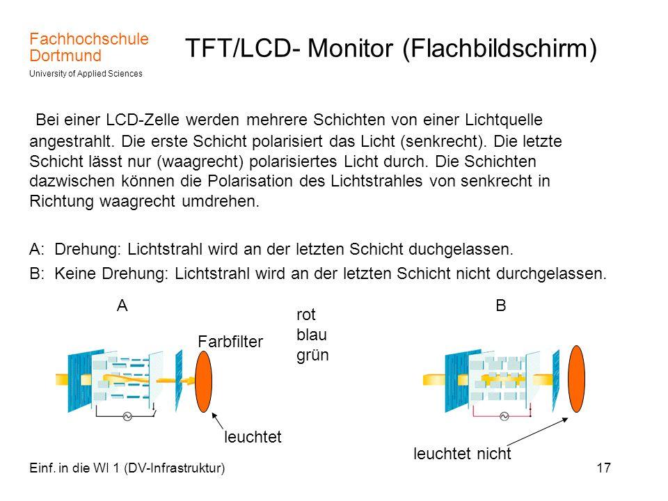 Fachhochschule Dortmund University of Applied Sciences Einf. in die WI 1 (DV-Infrastruktur)17 TFT/LCD- Monitor (Flachbildschirm) Bei einer LCD-Zelle w