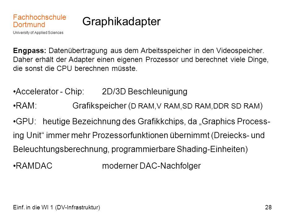 Fachhochschule Dortmund University of Applied Sciences Einf. in die WI 1 (DV-Infrastruktur)28 Graphikadapter Engpass: Datenübertragung aus dem Arbeits