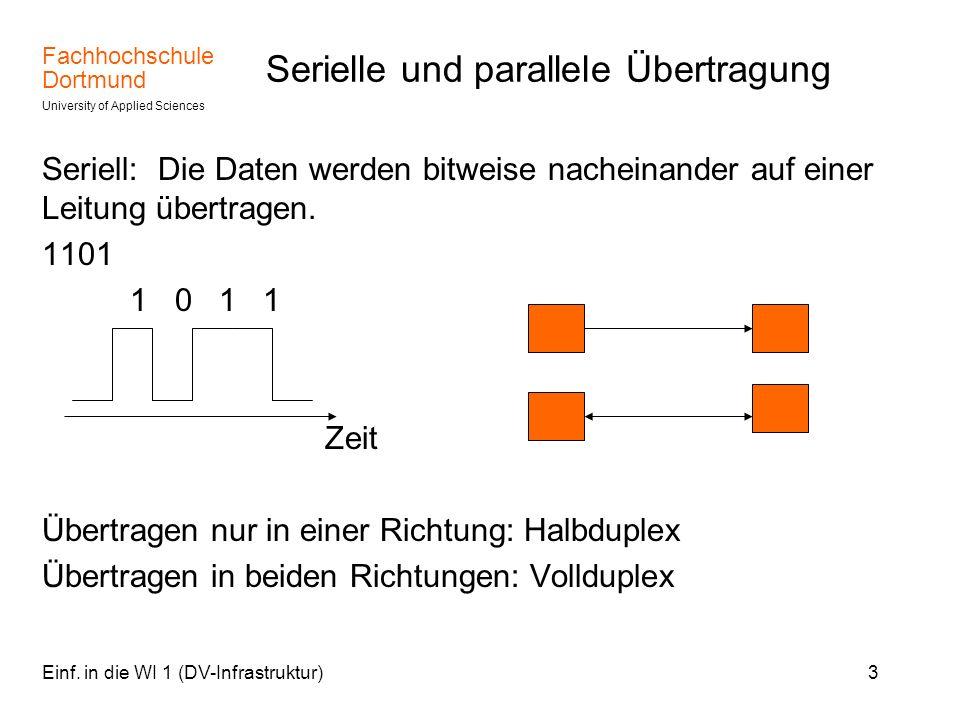 Fachhochschule Dortmund University of Applied Sciences Einf. in die WI 1 (DV-Infrastruktur)3 Serielle und parallele Übertragung Seriell: Die Daten wer