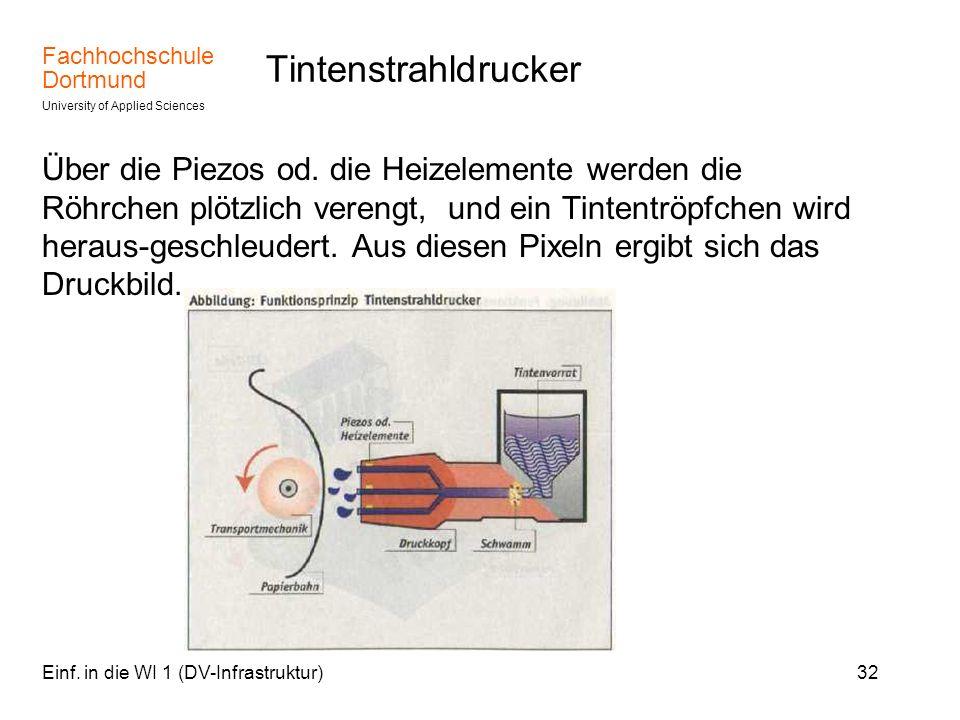Fachhochschule Dortmund University of Applied Sciences Einf. in die WI 1 (DV-Infrastruktur)32 Tintenstrahldrucker Über die Piezos od. die Heizelemente