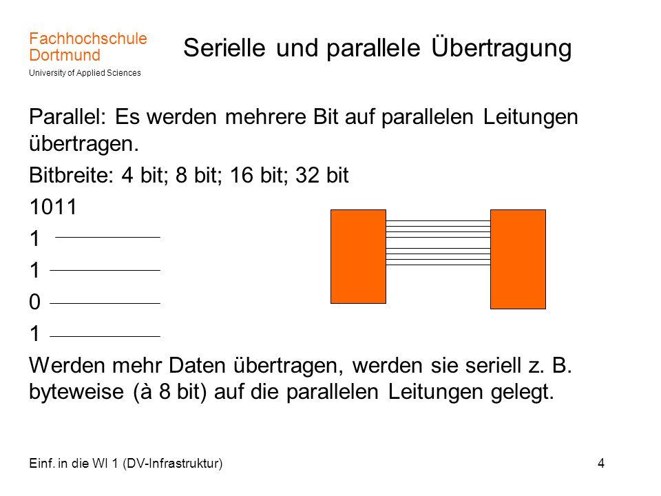 Fachhochschule Dortmund University of Applied Sciences Einf. in die WI 1 (DV-Infrastruktur)4 Serielle und parallele Übertragung Parallel: Es werden me