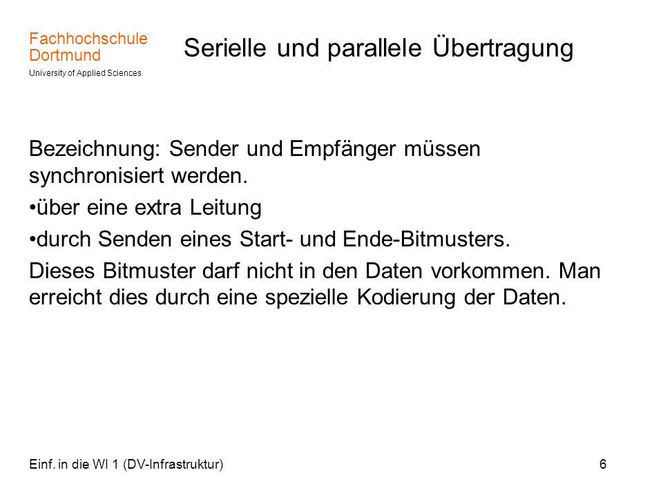 Fachhochschule Dortmund University of Applied Sciences Einf. in die WI 1 (DV-Infrastruktur)6 Serielle und parallele Übertragung Bezeichnung: Sender un