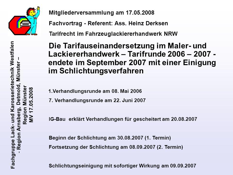 Fachgruppe Lack- und Karosserietechnik Westfalen - Region Arnsberg, Detmold, Münster – Region Münster MV 17.05.2008 Kurzübersicht zum Vortrag: 1.