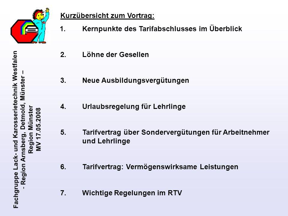 Fachgruppe Lack- und Karosserietechnik Westfalen - Region Arnsberg, Detmold, Münster – Region Münster MV 17.05.2008 Wichtige Regelungen des Rahmentarifvertrages Abschnitt II Arbeitszeit § 6 Wöchentliche Arbeitszeit Die regelmäßige wöchentliche Arbeitszeit beträgt 40 Stunden.