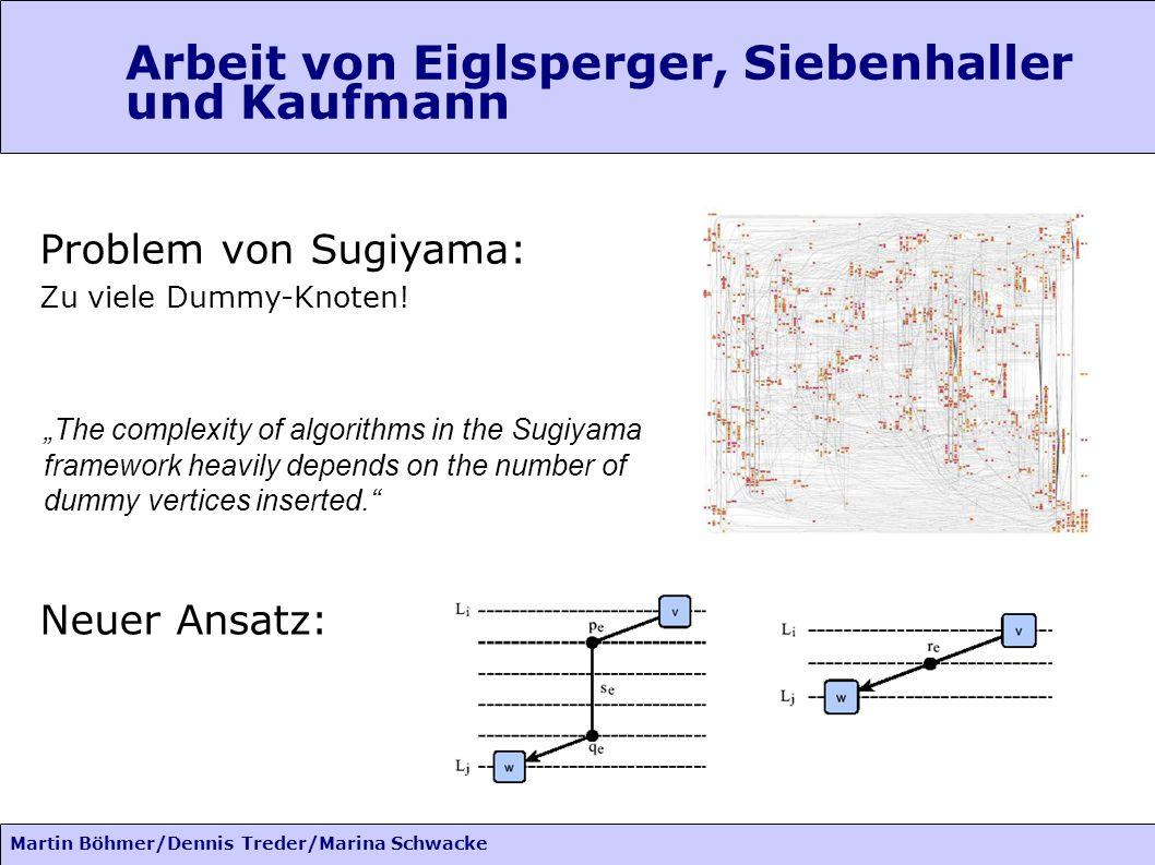 Martin Böhmer/Dennis Treder/Marina Schwacke Arbeit von Eiglsperger, Siebenhaller und Kaufmann Problem von Sugiyama: Zu viele Dummy-Knoten.