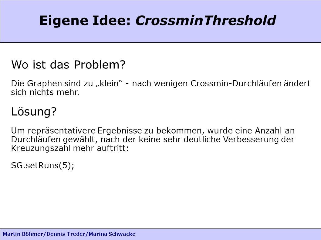 Martin Böhmer/Dennis Treder/Marina Schwacke Eigene Idee: CrossminThreshold Wo ist das Problem? Die Graphen sind zu klein - nach wenigen Crossmin-Durch