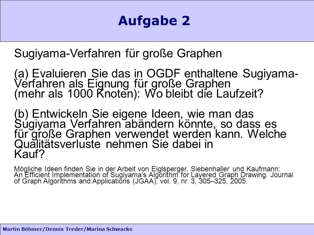 Martin Böhmer/Dennis Treder/Marina Schwacke Aufgabe 2 Sugiyama-Verfahren für große Graphen (a) Evaluieren Sie das in OGDF enthaltene Sugiyama- Verfahren als Eignung für große Graphen (mehr als 1000 Knoten): Wo bleibt die Laufzeit.