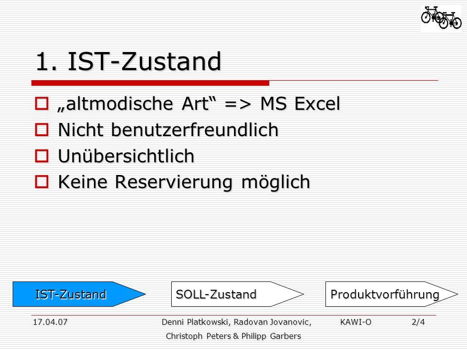 1. IST-Zustand altmodische Art => MS Excel altmodische Art => MS Excel Nicht benutzerfreundlich Nicht benutzerfreundlich Unübersichtlich Unübersichtli