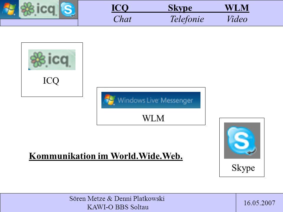 Sören Metze & Denni Platkowski KAWI-O BBS Soltau ICQ Skype WLM ICQSkypeWLM Chat TelefonieVideo 16.05.2007 Kommunikation im World.Wide.Web.