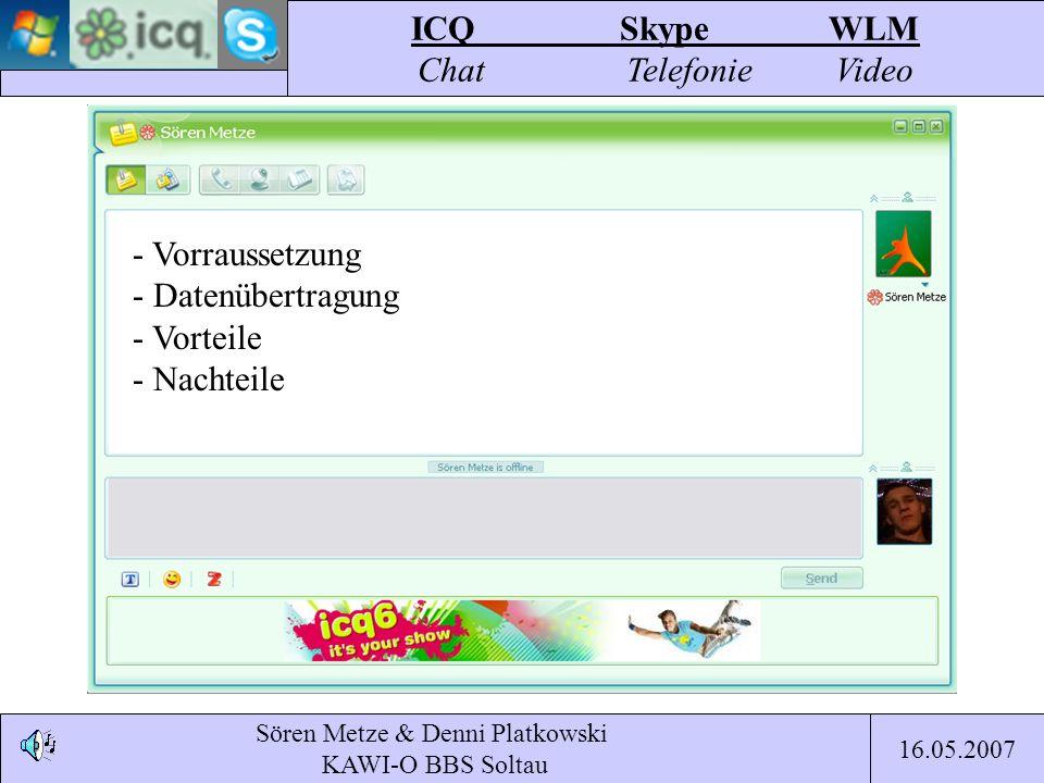 Sören Metze & Denni Platkowski KAWI-O BBS Soltau ICQSkypeWLM Chat TelefonieVideo 16.05.2007 - Vorraussetzung - Datenübertragung - Vorteile - Nachteile