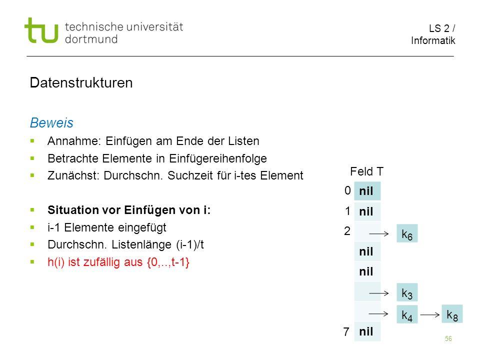 LS 2 / Informatik 56 Datenstrukturen Beweis Annahme: Einfügen am Ende der Listen Betrachte Elemente in Einfügereihenfolge Zunächst: Durchschn. Suchzei