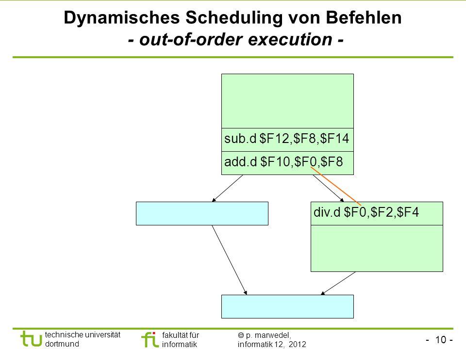 - 10 - technische universität dortmund fakultät für informatik p. marwedel, informatik 12, 2012 Dynamisches Scheduling von Befehlen - out-of-order exe