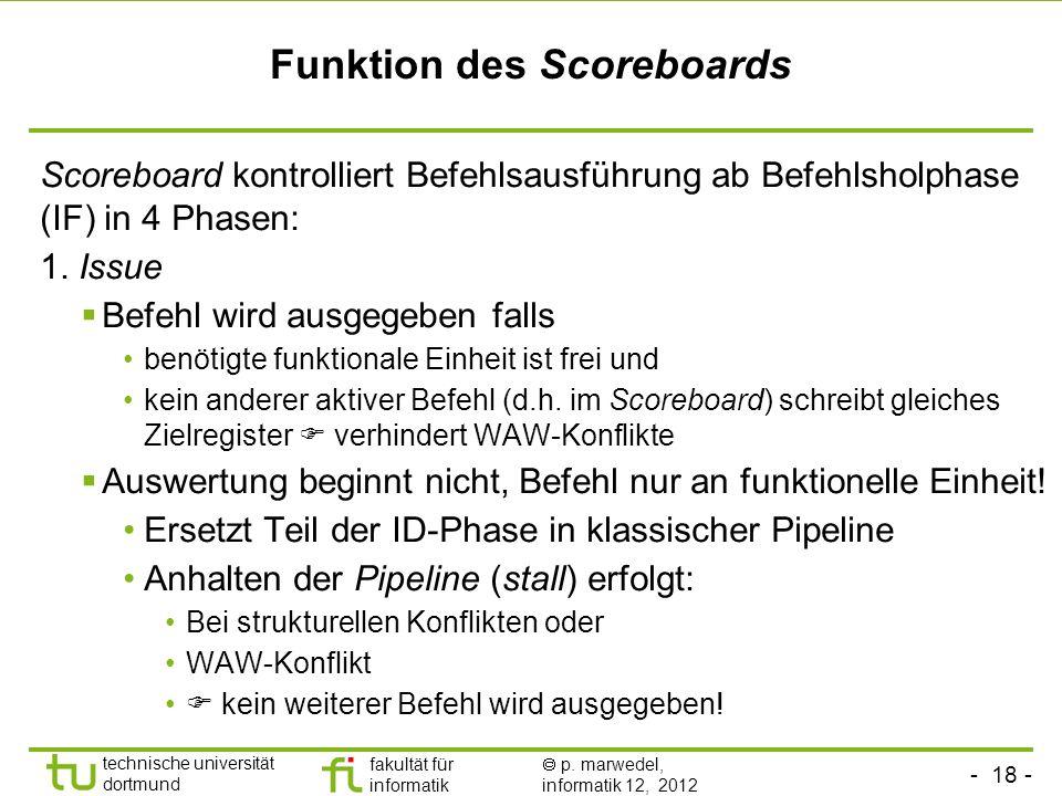- 18 - technische universität dortmund fakultät für informatik p. marwedel, informatik 12, 2012 Funktion des Scoreboards Scoreboard kontrolliert Befeh