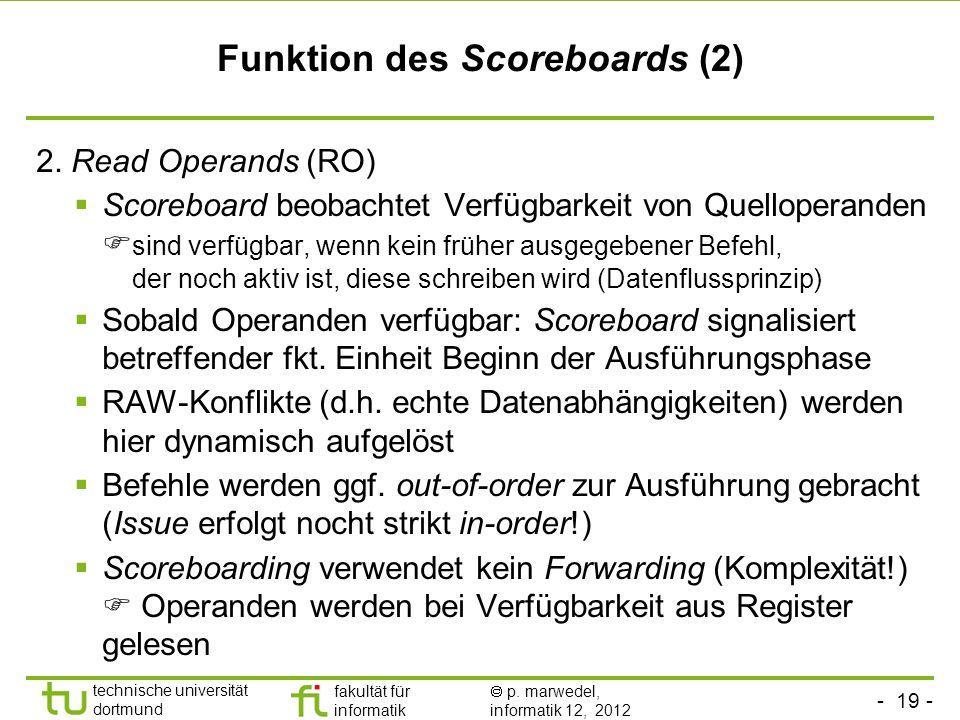 - 19 - technische universität dortmund fakultät für informatik p. marwedel, informatik 12, 2012 Funktion des Scoreboards (2) 2. Read Operands (RO) Sco