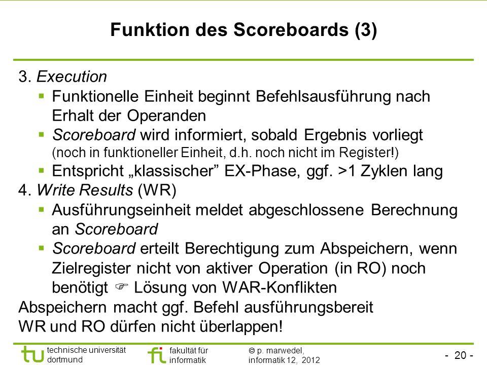 - 20 - technische universität dortmund fakultät für informatik p. marwedel, informatik 12, 2012 Funktion des Scoreboards (3) 3. Execution Funktionelle
