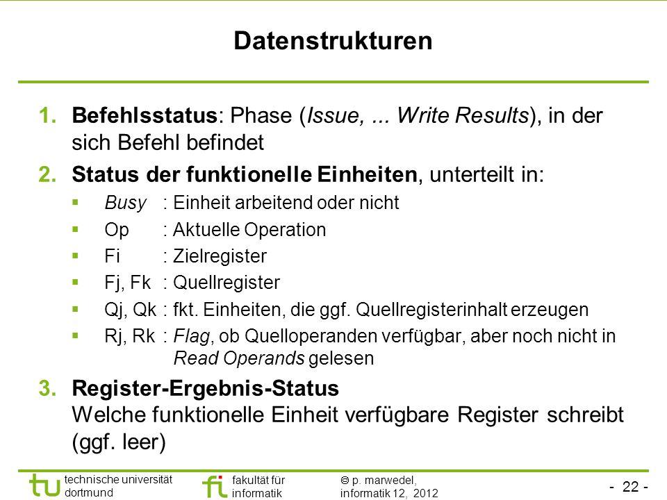 - 22 - technische universität dortmund fakultät für informatik p. marwedel, informatik 12, 2012 Datenstrukturen 1.Befehlsstatus: Phase (Issue,... Writ