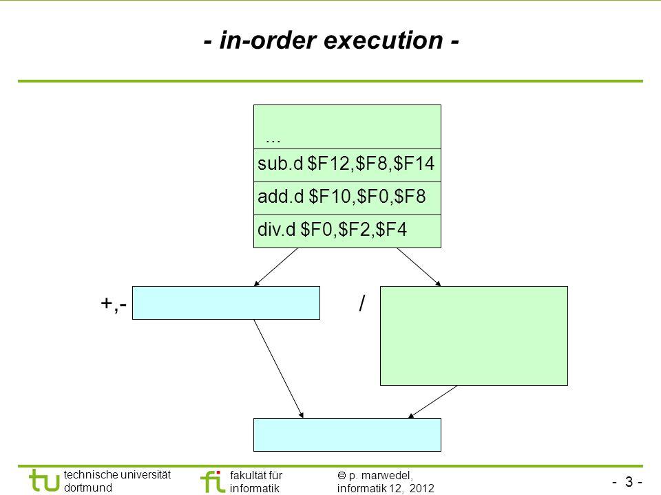 - 3 - technische universität dortmund fakultät für informatik p. marwedel, informatik 12, 2012 +,-/ - in-order execution - div.d $F0,$F2,$F4 add.d $F1