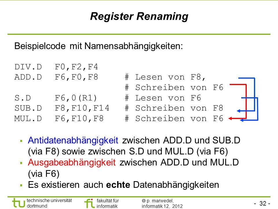 - 32 - technische universität dortmund fakultät für informatik p. marwedel, informatik 12, 2012 Register Renaming Beispielcode mit Namensabhängigkeite