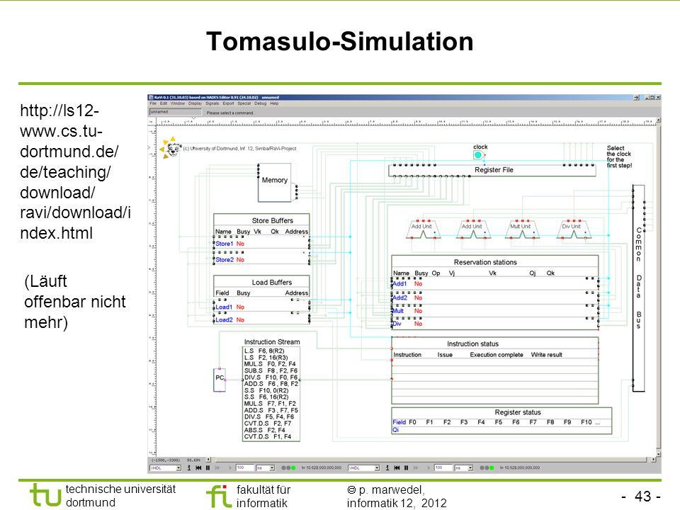- 43 - technische universität dortmund fakultät für informatik p. marwedel, informatik 12, 2012 Tomasulo-Simulation http://ls12- www.cs.tu- dortmund.d