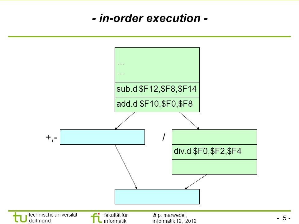 - 5 - technische universität dortmund fakultät für informatik p. marwedel, informatik 12, 2012 +,-/ - in-order execution - div.d $F0,$F2,$F4 add.d $F1