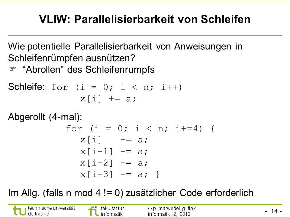 - 14 - technische universität dortmund fakultät für informatik p. marwedel, g. fink informatik 12, 2012 VLIW: Parallelisierbarkeit von Schleifen Wie p