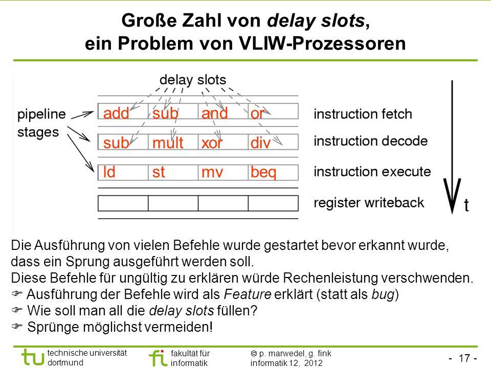 - 17 - technische universität dortmund fakultät für informatik p. marwedel, g. fink informatik 12, 2012 Große Zahl von delay slots, ein Problem von VL