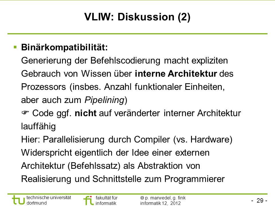 - 29 - technische universität dortmund fakultät für informatik p. marwedel, g. fink informatik 12, 2012 VLIW: Diskussion (2) Binärkompatibilität: Gene
