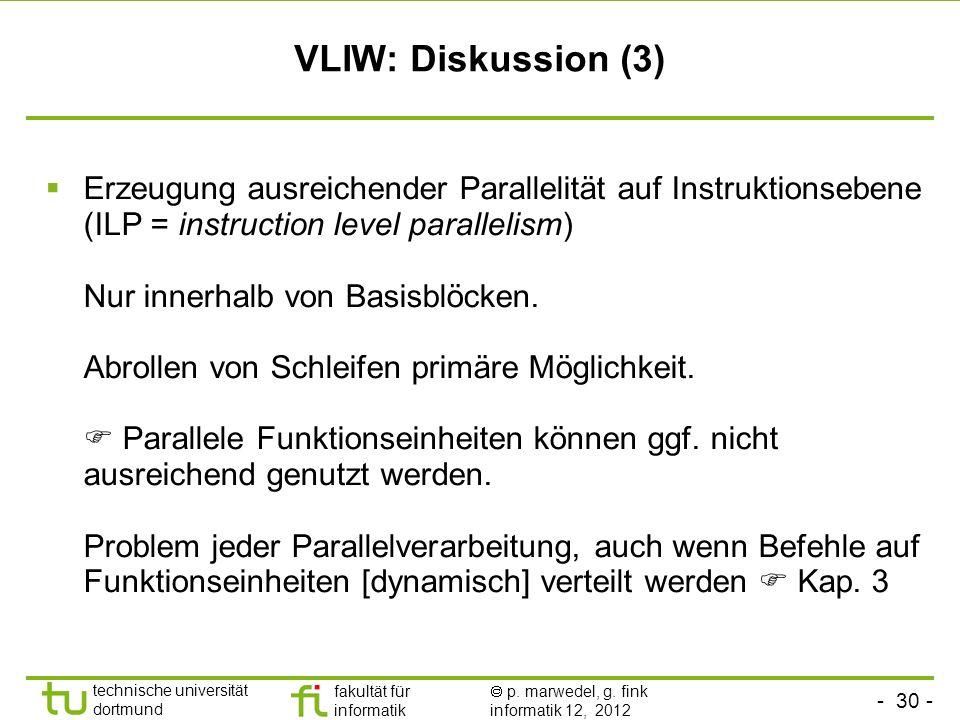 - 30 - technische universität dortmund fakultät für informatik p. marwedel, g. fink informatik 12, 2012 VLIW: Diskussion (3) Erzeugung ausreichender P