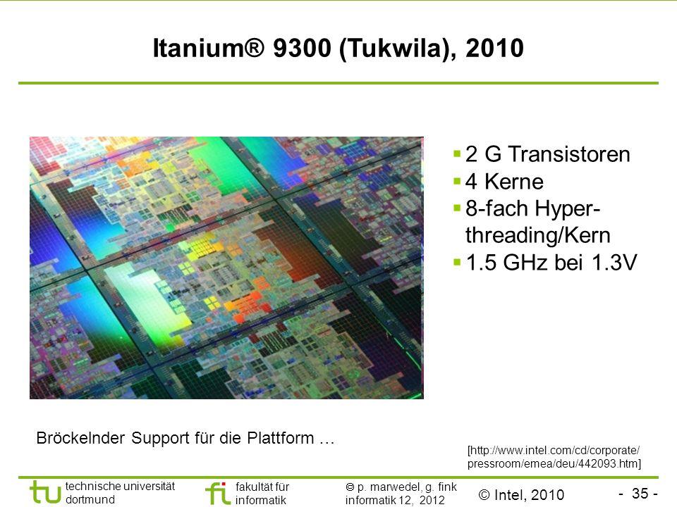 - 35 - technische universität dortmund fakultät für informatik p. marwedel, g. fink informatik 12, 2012 Itanium® 9300 (Tukwila), 2010 [http://www.inte