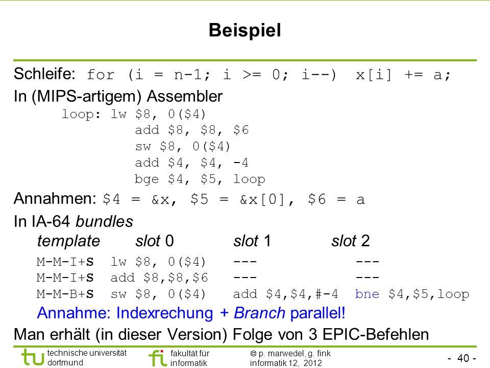 - 40 - technische universität dortmund fakultät für informatik p. marwedel, g. fink informatik 12, 2012 Beispiel Schleife: for (i = n-1; i >= 0; i--)
