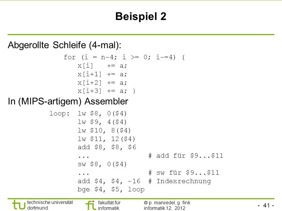 - 41 - technische universität dortmund fakultät für informatik p. marwedel, g. fink informatik 12, 2012 Beispiel 2 Abgerollte Schleife (4-mal): for (i