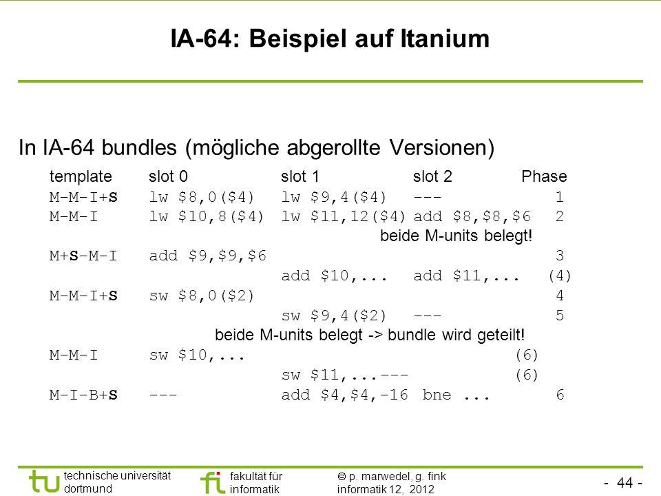 - 44 - technische universität dortmund fakultät für informatik p. marwedel, g. fink informatik 12, 2012 IA-64: Beispiel auf Itanium In IA-64 bundles (