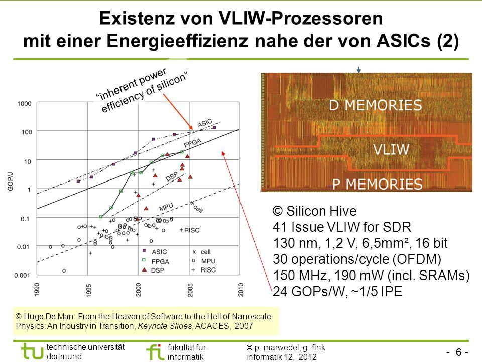 - 6 - technische universität dortmund fakultät für informatik p. marwedel, g. fink informatik 12, 2012 Existenz von VLIW-Prozessoren mit einer Energie