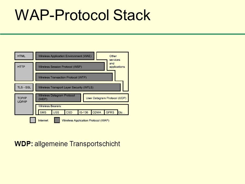 WAP-Protocol Stack WDP: allgemeine Transportschicht