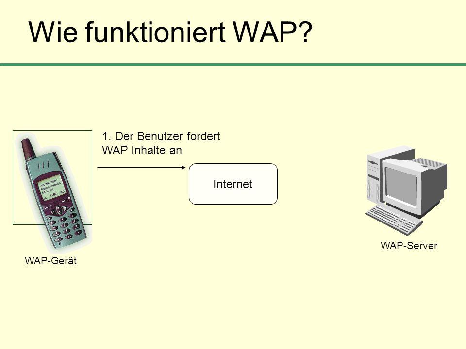Wie funktioniert WAP? Internet 1. Der Benutzer fordert WAP Inhalte an WAP-Gerät WAP-Server